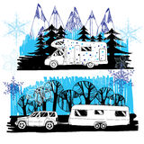 Illustration of winter landscape with camper van, motorhome. Fam Royalty Free Stock Photos