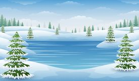 Winter landscape with frozen lake and fir trees. Illustration of Winter landscape with frozen lake and fir trees Stock Photo