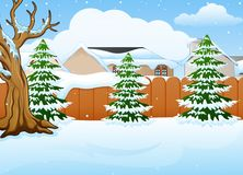 Winter landscape with snow covered house and fir tree. Illustration of Winter landscape with snow covered house and fir tree Royalty Free Stock Photography