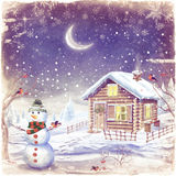 Illustration of winter landscape with snowman Royalty Free Stock Photography