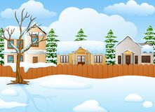 Winter landscape with snowy house and fir tree. Illustration of Winter landscape with snowy house and fir tree Stock Photography