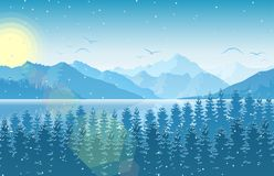 Winter morning in mountain landscape with forest and river. Illustration of Winter morning in mountain landscape with forest and river Stock Image