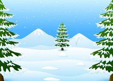 Winter mountains landscape with fir trees and falling snow. Illustration of Winter mountains landscape with fir trees and falling snow Stock Images