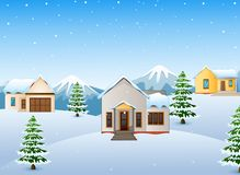 Winter mountains landscape with house and fir tree. Illustration of Winter mountains landscape with house and fir tree Royalty Free Stock Photography