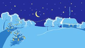 Illustration of winter night. Illustration of snow-covered countryside in New Year`s winter night stock illustration