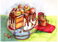 Illustration of  winter party cake Stock Image