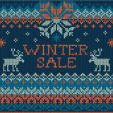 Illustration of Winter sale: Scandinavian style seamless knitted Royalty Free Stock Images