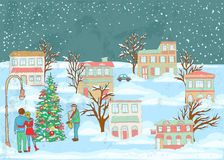 Illustration of a winter scene with a couple looking to a christmas tree and listening to a man playing on a saxophone Royalty Free Stock Image