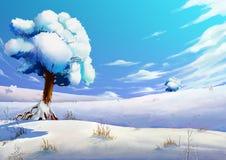Illustration: The Winter Snow Field. Fantastic Cartoon Style Scene Wallpaper Background Design Stock Photo