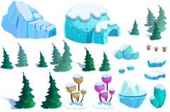 Illustration: Winter Snow Ice World Theme Elements Design Set 2. Game Assets. Pine Tree, Ice, Snow, Eskimo Igloo. Stock Photo
