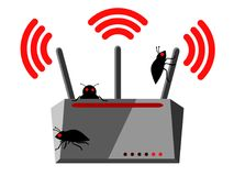 Illustration of wireless router with three Wi-Fi antennas and bugs which has been hacked. And is nfected Stock Photos