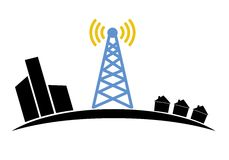 Illustration of wireless signal of internet into. Houses in city,for logo design Royalty Free Stock Photo