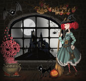 Illustration with a witch Stock Photo