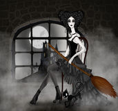 Illustration witch with a broom Stock Photo