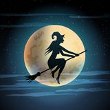 Illustration of witch on broom. Royalty Free Stock Images
