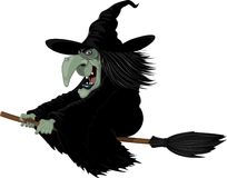 Illustration: Witch on broomstick Stock Photography