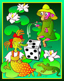 Illustration of a witch and a dwarf in the marsh playing dice. Royalty Free Stock Photos