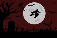 Illustration Of A Witch Flying Royalty Free Stock Photography