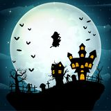 Witch flying on a Halloween celebration Royalty Free Illustration