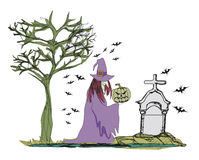 Illustration of witch with Halloween pumpkin Stock Photography