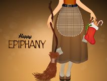 Witch with sock of Epiphany Royalty Free Stock Photo