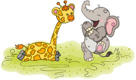Free Illustration With Happy Elephant And Friendly Giraffe Stock Image - 143229331