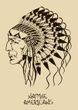 Illustration With Native American Indian Chief Royalty Free Stock Image