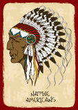 Illustration With Native American Indian Chief Stock Photo