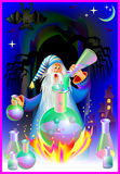 Illustration of wizard doing alchemy. Stock Photo