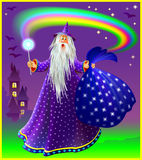 Illustration of wizard with magical wand and sac. Royalty Free Stock Images