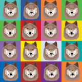 Illustration with wolves in pop art Andy Warhol style Stock Photos