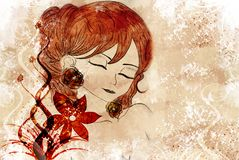 Illustration of a woman. Background, a beautiful woman with flowers and ornaments Royalty Free Stock Image