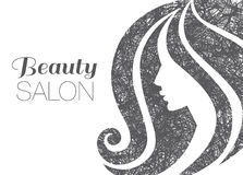 Illustration of woman with beautiful hair. Stock Photo