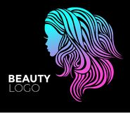 Illustration of woman with beautiful hair stock image