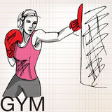 Illustration of woman with boxing gloves at workout, at gym Stock Photos