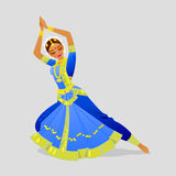 Illustration of a woman dancing Indian dance in the style of Bharatanatyam Stock Photography