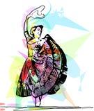 Illustration of woman dancing marinera Stock Images