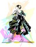 Illustration of woman dancing marinera Stock Image