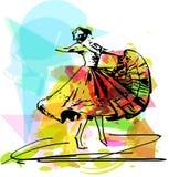 Illustration of woman dancing marinera Royalty Free Stock Photo