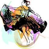 Illustration of woman dancing marinera Stock Photos