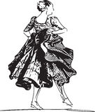 Illustration of woman dancing marinera Stock Photo