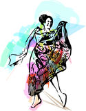 Illustration of woman dancing Stock Photography