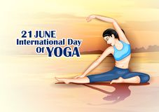 Illustration of woman doing yoga pose on poster design for celebrating International Yoga Day Stock Photos