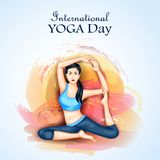 Illustration of woman doing yoga pose on poster design for celebrating International Yoga Day Stock Images