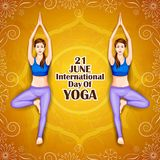 Illustration of woman doing yoga pose on poster design for celebrating International Yoga Day Stock Image