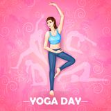 Illustration of woman doing yoga pose on poster design for celebrating International Yoga Day Stock Photography