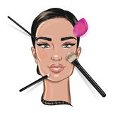 Illustration of a woman face with makeup tools royalty free stock photography