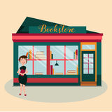 Illustration of the woman in front of the bookstore with books. Illustration of the woman in front of the book shop with books Stock Photos