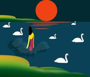 Illustration of a woman getting into the lake. To swim with the swans Stock Photo