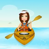 Woman goes on the kayak with her dog stock illustration